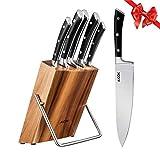 Cuchillos Cocina, 6 piezas Juego de Cuchillos de Acero Inoxidable, Cuchillo Cocina Profesional Juego de Cuchillo de Bloque de Madera por Aicok