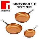 Original Chef Copper Plus - Juego 3 sartenes de cobre súper resistentes! Diámetro 18/22/26 Revestimiento antiadherente sin PFOA - sartenes de...
