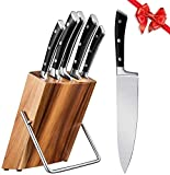 Cuchillos Cocina Profesional, Set Cuchillos 6 Piezas, Juego Cuchillos de Acero Inoxidable con Soporte de Madera, Cuchillo de Cocina Súper...