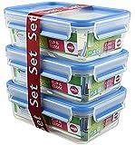Emsa Clip & Close Set de 3 Conservadores Herméticos de Plástico Rectangular de 1 L, higiénico, no retiene olores ni sabores 100% Libre de BPA,...