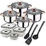 San Ignacio Premium Nona - Bateria de cocina de 4 piezas, acero inoxidable, 1.9L-2.7L-3.5L-5.1L, apta para todo tipo de cocinas incluido...