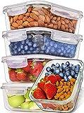 Prep Naturals Recipientes de Vidrio para Alimentos (Juego de 5 x 1064 ml) Envases de Cristal con Tapas Herméticas para la Cocina | Contenedores...