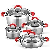 GRIDINLUX. Elite Chef Munich. Batería de Cocina. Acero Inoxidable, 8 Piezas, Encapsulado Reforzado, Antiadherente, Mangos Silicona, Material...