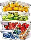 Recipientes de Vidrio para Alimentos (Juego de 5 x 1000ml) Prep Naturals - Envases de Cristal con Tapas Herméticas para la Cocina - Contenedores...