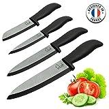 ChefsDeFrance - Set de 4 Cuchillos de Cerámica - Edición Prestige Cuchillos de Alta Gama + 1 Libro de Cocina Gratis - Cuchillo de Chef