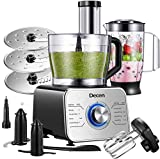 Decen 1100W Procesador de Alimentos/ Robot de Cocina Multifunción para Carne, Verduras Frutas y Nueces, Licuadora, Amasador, Picadora de Carne,...