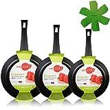 WECOOK Ecogreen Set Juego 3 Sartenes 18-22-26 cm Aluminio, inducción, Antiadherente ecológico sin PFOA, Limpieza lavavajillas Apta para Todas...