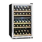 Klarstein Vinamour - Nevera para vinos, Nevera para bebidas, Refrigerador gastronomía, 2 Zonas, 41 Botellas, 5 Baldas, Iluminación LED, Módulo...