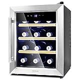 Cecotec Vinoteca Grand Sommelier 1200 CoolWood. Capacidad para 12 Botellas, Baldas de Madera y Tecnología Motionless, 33L de capacidad, Cristal...
