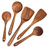 AOOSY utensilios de madera para cocina,5 uds. Herramientas de cocina de madera japonesa Juegos de utensilios que no se rayan, incluida cuchara de...