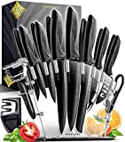 17 Piezas Set Cuchillos Cocina Profesional - Juego de Cuchillos de Cocina Acero Inoxidable con Soporte de Acrílico - 6 Cuchillos Carne, Tijeras,...