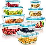 KICHLY Recipientes de cristal para alimentos - 18 pieza (9 envase, 9 Transparente tapa) Hermético Tapers cristal - Apto para lavavajilla,...